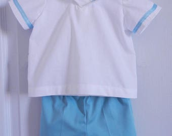 Shorts and white baby sailor set sky blue - 12 months