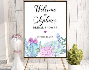Welcome to Bridal Shower sign, Succulent Personalized Floral Baby Shower Sign, Printable Digital, Welcome to Party sign DIGITAL FILES, Succu