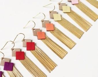 """Boucles d'oreilles Cuir """"mini franges"""" divers coloris attache plaqué or bijoux femme réalisé a la main personnalisable"""