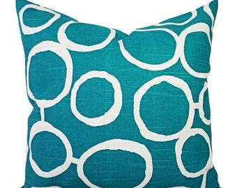 15% OFF SALE Two Turquoise Decorative Pillow Covers - Two Turquoise and White Throw Pillows - Throw Pillow - Cushion Cover - Accent Pillow -