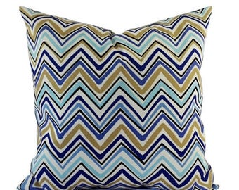15% OFF SALE Two Outdoor Pillow Covers - Blue and Tan Pillows - Patio Pillows - Outdoor Pillows - Blue Pillow Cover - Blue Pillow - Chevron