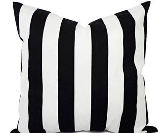 15% OFF SALE Two Black and White Pillow Covers - Striped Decorative Throw Pillow Covers - Cushion Cover Accent Pillow 16x16 18x18 20x20 22x2