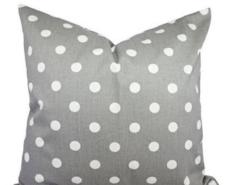 15% OFF SALE Two Decorative Throw Pillow Covers - Grey and White Polka Dot Print - Grey Cushion Cover - Grey Accent Pillow - Grey Pillow Cov