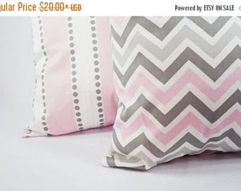 15% OFF SALE Two Pink Decorative Throw Pillow Covers Baby Pink Grey and White - Throw Pillow Couch Pillow Cushion Cover Accent Pillow