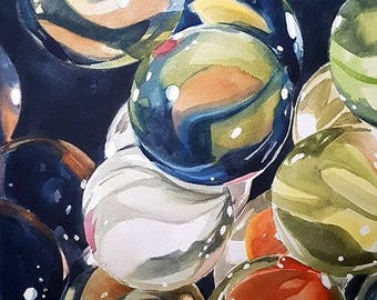 Marbles, Glass, Glass Painting, Marbles Wall Art, Glass Marbles, Watercolor Painting