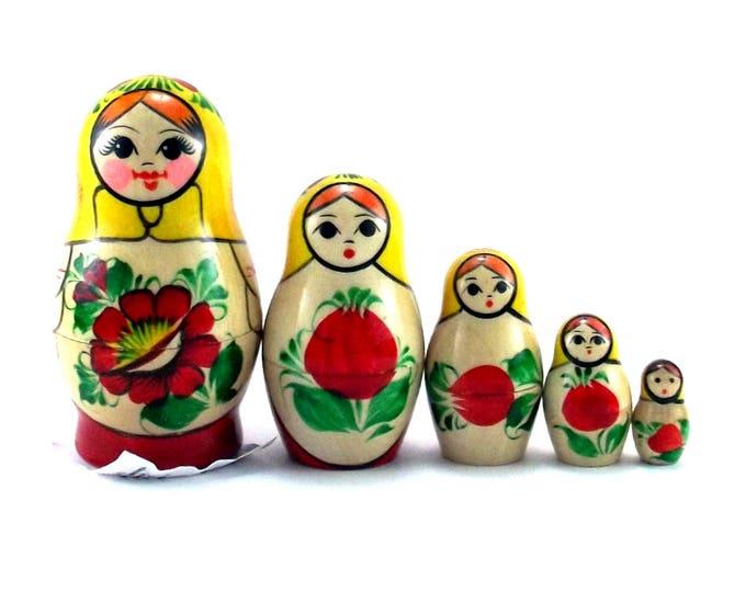 Nesting Dolls 5 pcs Russian matryoshka Babushka doll for kids set Wooden stacking authentic genuine toys Birthday gift for mom Rossiyanka
