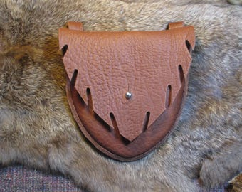 New pouch design!  Tobacco bull hide leather leaf-pocket belt pouch, with brown stitching and steel button stud clasp #1124 series A-B