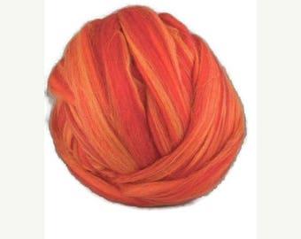 SALE Merino roving ,superfine, blend ,color:Sicilian Orange