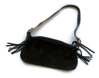 Brown suede Mini bag vintage 1980s small shoulder Bag