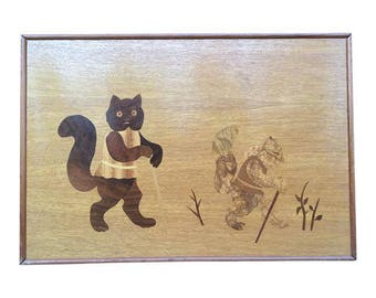 Folk Art Marquetry Cat Plaque from Slovakia