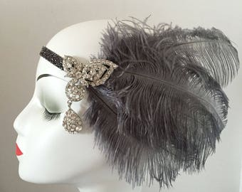 Ostrich Feather 20s Flapper Rhinestone Headband Head Dress Bridal Hair Wedding