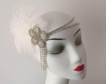 Ivory Feather 20s Flapper Rhinestone Headband Head Dress Bridal Hair Wedding