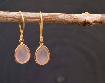 Chalcedony earrings, Pink chalcedony, Gemstone earrings, Drop earrings, Gif for her, Gold plated earrings, Pink earrings, Dangling earrings