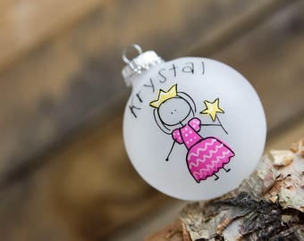 Princess Stick Figure - Christmas Ornament - Personalized for Free