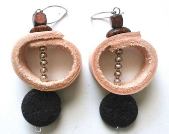 Minimal Blush-colored Leather Circle Earrings