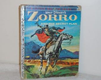 "The Little Golden Book Disney's ZORRO & The Secret Plan 25c #D77 1958 ""A"" Ed Simon Schuster"