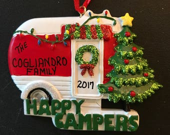 Camping Personalized Christmas Ornaments