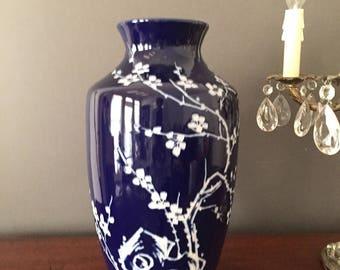 Blue Intaglio Vase, Asian Cobalt Blue and White 12.5 Inch Vase, Asian Blue White Decor, Chinoiserie Vase, Vintage Asian Vases
