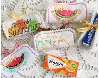 Summertime Candy Wrapper Set of 3 Machine Embroidery designs - Instant Download