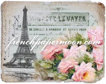 Vintage Digital Paris Postcard, Shabby Rose Eiffel Tower Graphic, French Pillow Transfer, Iron On