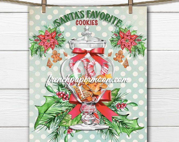 Digital Santa's Cookies, Gingerbread Cookies, Jar of Cookies, Shabby Christmas, Digital Collage, Iron On Fabric