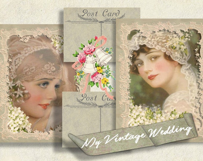 My Vintage Wedding Digital Collage set, Journal Set, Wedding Printable, Printable Postcards, Scrapbooking, Wedding Ephemera