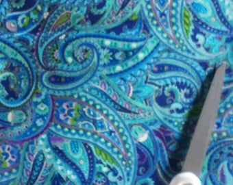 Metallic Blue Paisley