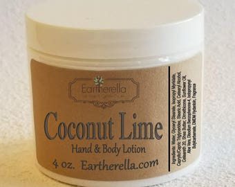 Eartherella COCONUT LIME Hand and Body Lotion Jar 4 oz.