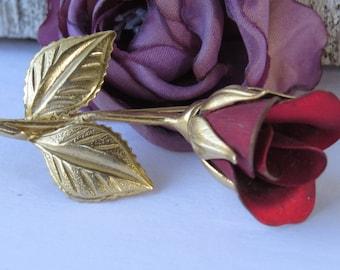 Vintage Red gold Rose Brooch - Red Rose Pin - Giovanni - Long Stem Rosebud