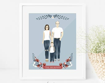 Custom family portrait. Digital illustration. Drawing. Personalized family portrait. Personalized printable card gift art digital customized