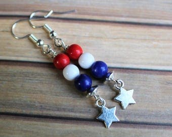 Fourth of July Earrings, 4th of July Earrings, Red White and Blue, Independence Day, 4th of July Jewelry, Fourth of July