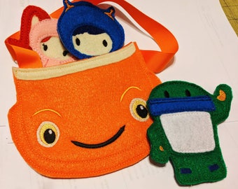 UmiZoomi Toy Finger Puppet Set -  3 Finger Puppets & Umicar Carrying Bag - Milli - Geo - Bot - Christmas Gift - Toddler Gift - Birthday Gift