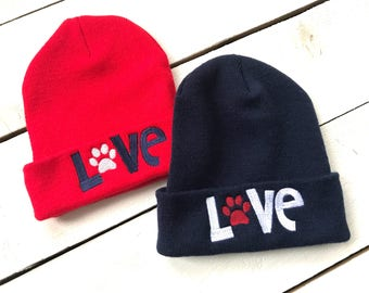 Animal Lover LOVE Paw Beanie Embroidered Slouchy Hat Knit Beanie Custom Embroidery Puppy Kitty Cat Dog Swag