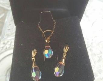 Dainty Drop Down Crystal & Earring Set