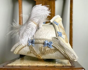 Tricorn Hat Costume Ivory Champagne Gold Lace Blue Satin Millinery Handmade Decorated Hat Felt Ostrich Feather 17th 18th Century Historical