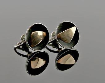 Ed Levin Modernist 14k Gold and Sterling Earrings 1950
