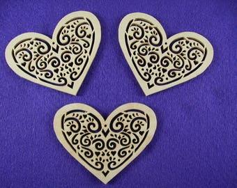 Three hearts, wooden, 8 x 6.5 cm (04-0002C)