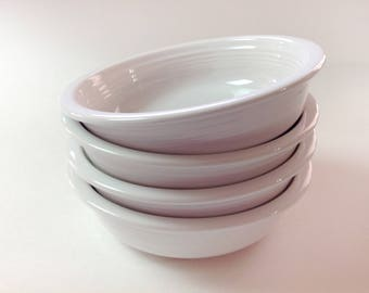 Fiesta Ware White Cereal, Soup Bowls, Set of 6, Vintage White Homer Laughlin Fiestaware Large Soup Bowls, 6