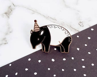 Tapir Party Animal Hard Enamel Pin | Introvert party | Forest friends