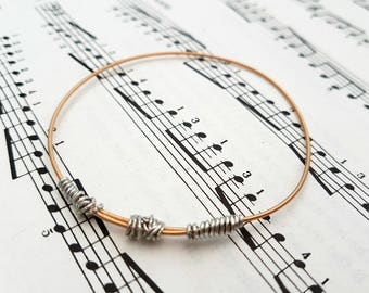Guitar string bracelet bangle, Size XXS, guitarist, guitar player, cool music rock jewellery (60mm diameter)