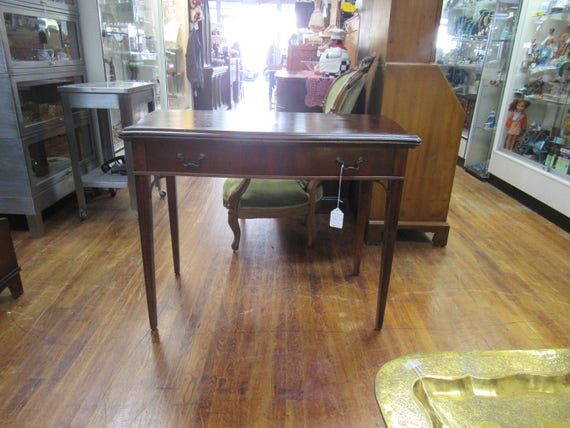 Mahogany extension table console to game or dining table