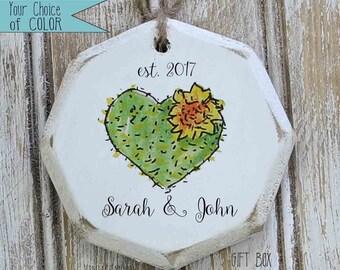 cactus heart established ornament, boho Christmas tree, anniversary gift, gift for couple, wedding gift, first Christmas ornament