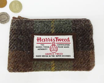 Scottish Harris tweed zipped coin purse in brown and green check.