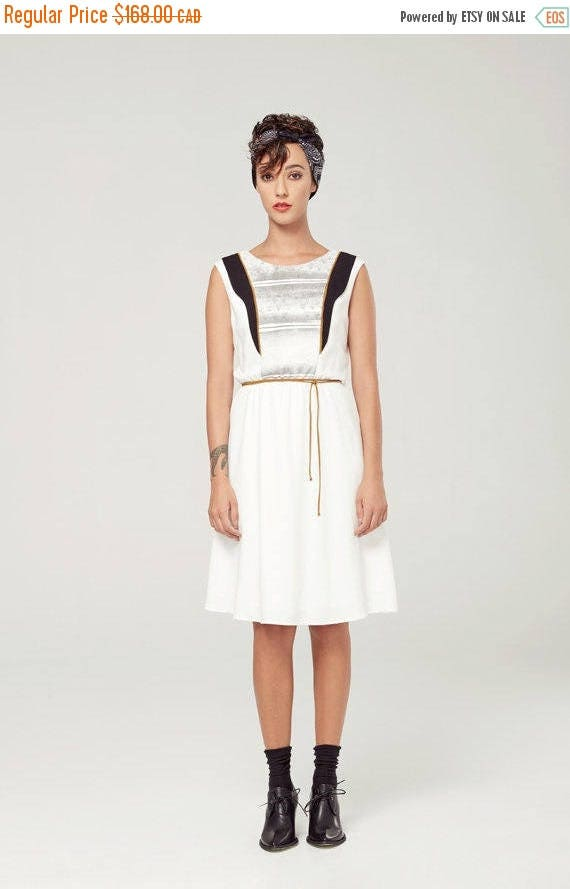 SOLDE SAMARE - sleeveless skater dress, empire waist for women - white with deconstructed silkscreen like edgy and grunge