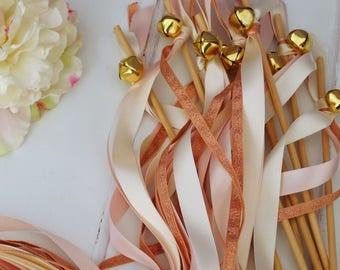 Wedding Wands - Rose Gold & Pink Ribbon Wands - Blush Wedding Decor - Jingle Bell Wands - Confetti Alternative - Wedding Streamers - Boho