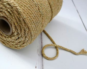 Natural Gold Sparkle Macrame Rope 4mm - Chunky Glitter Bakers Twine - 100m Spool - Twisted Cotton Macrame Cord - Gold Metallic Twine