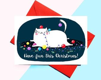 Funny Christmas Card - Cat Christmas Card - Cat Greeting Card - Merry Christmas - Funny - Fun - Cute - Naughty - Christmas Card