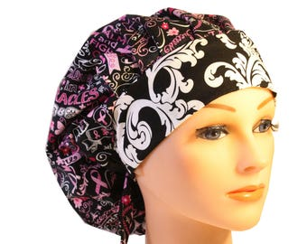 Scrub Cap Surgical Hat Chef   Dentist Hat Tie Back Bouffant Black Pink Ribbon Cancer Awareness Hope 2nd Item Ships FREE