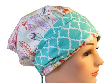 Scrub Hat Cap Chemo Bad Hair Day Hat  European BOHO Banded Pixie Tie Back Pastel Feathers Mint Band 2nd Item Ships FREE