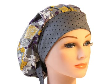 Scrub Cap Surgical Hat Chef   Dentist Hat Tie Back Bouffant  Grey Yellow Purple Floral 2nd Item Ships FREE